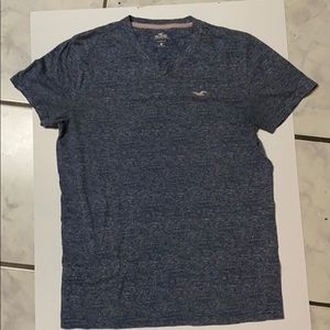 Hollister V Neck Tee. Blue with white stripes.